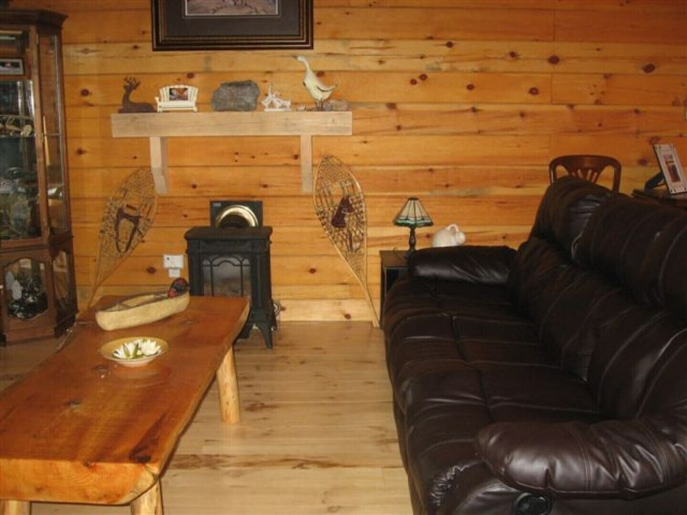 Living Room, Beautiful Log Home on Quiet Private Lake