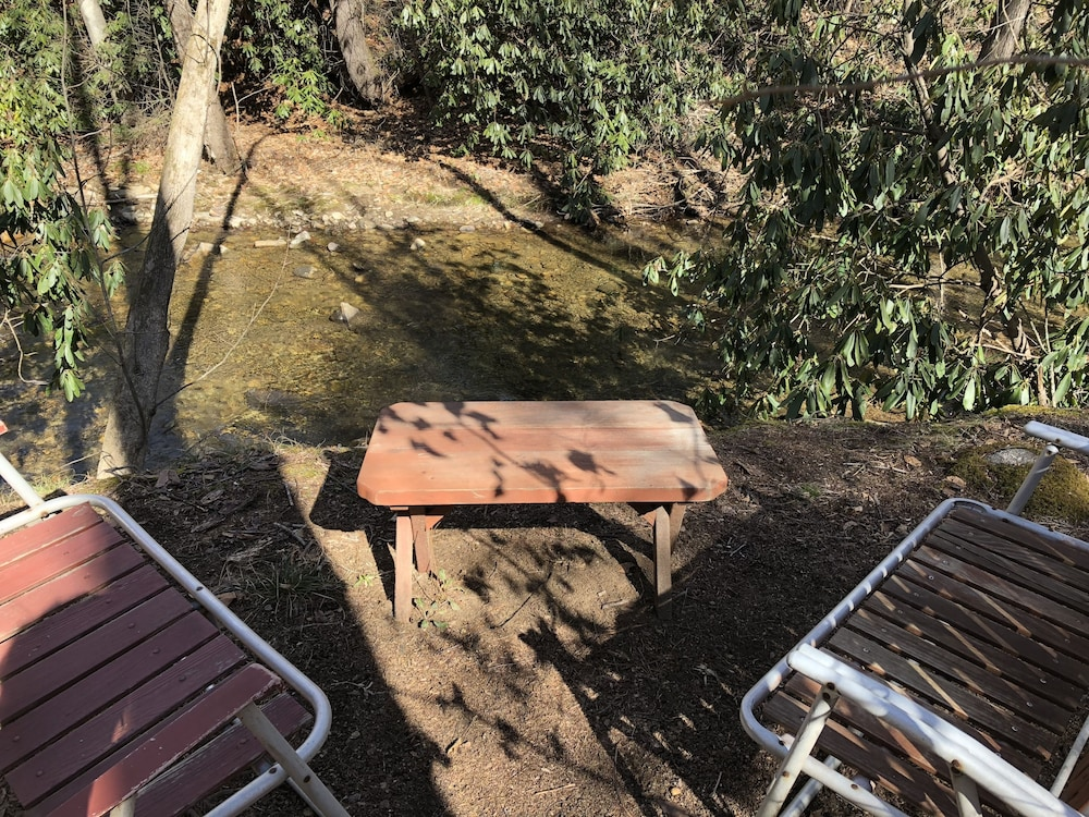 Balcony, Hidden Gem, 30 ft From Creek, Hot Tub, Outdoor Fire Pit, Fireplace, Pet Friendly