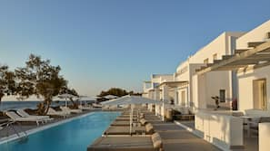 7 outdoor pools, open 8 AM to 8:00 PM, pool umbrellas, pool loungers