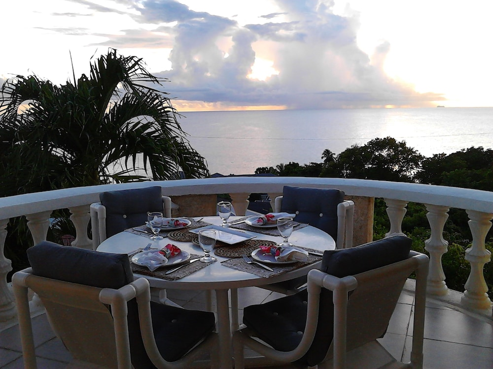 Balcony, Barbados villa near beach -- the view,2 pools, WiFi, daily staff