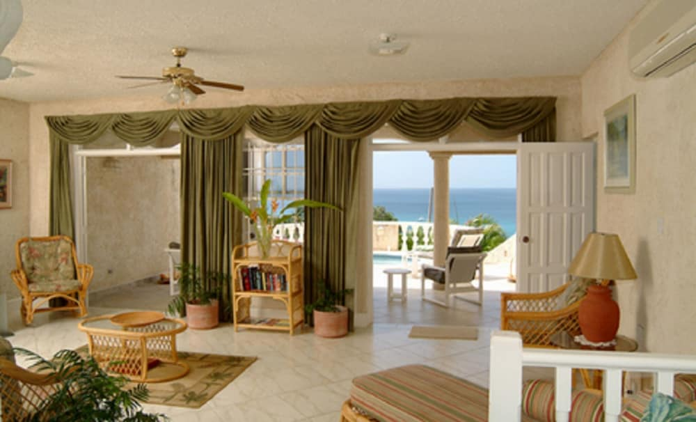 Living Room, Barbados villa near beach -- the view,2 pools, WiFi, daily staff