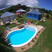 Bungalow With one Room in Ste Rose, With Wonderful sea View, Pool Access, Furnished Terrace - 5 km From the Beach