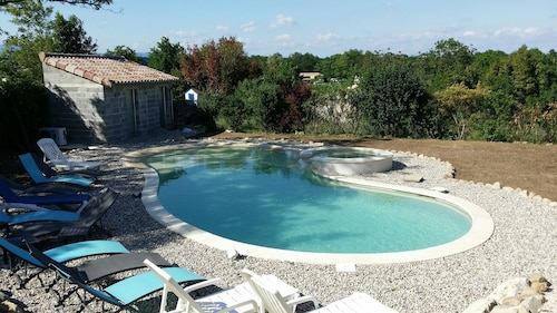 Studio in Grospierres, With Wonderful Mountain View, Pool Access, Enclosed Garden