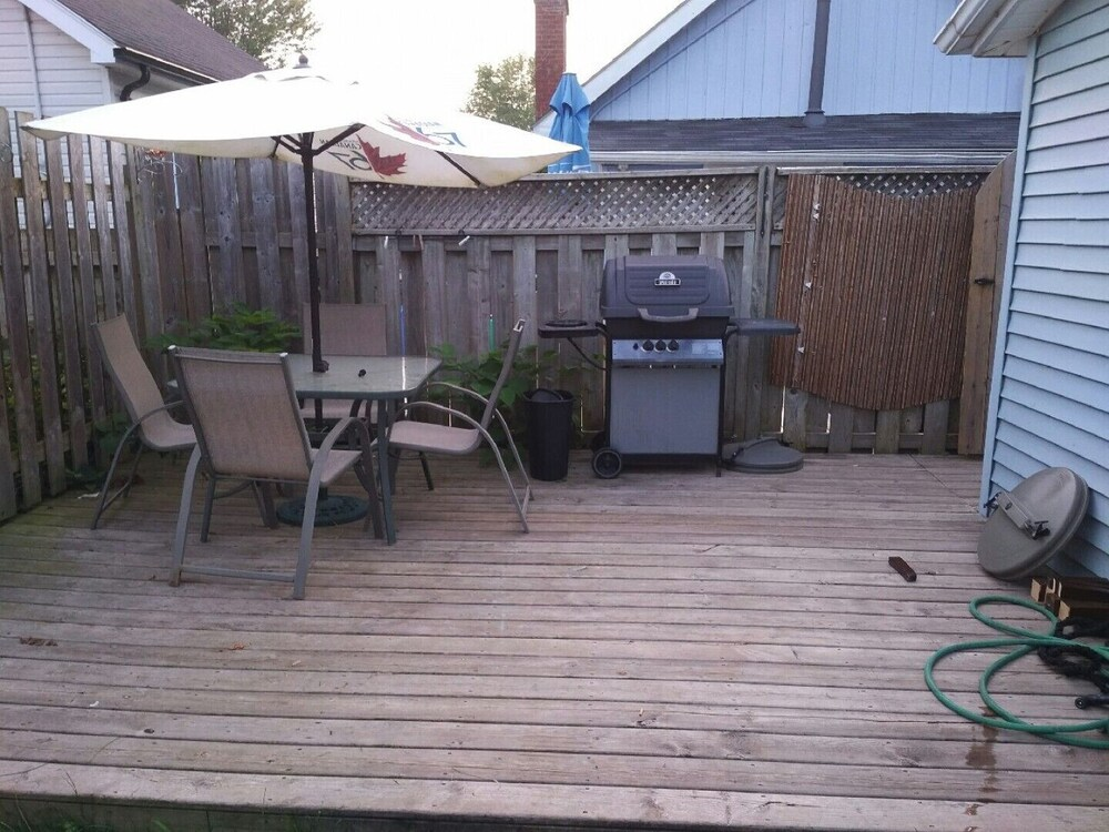 Balcony, Updated Port Stanley Cottage Rental Across From Beach!