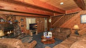 電視、壁爐、DVD 播放機