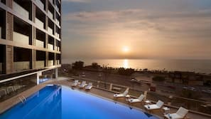 Outdoor pool, open 8 AM to 8 PM, sun loungers