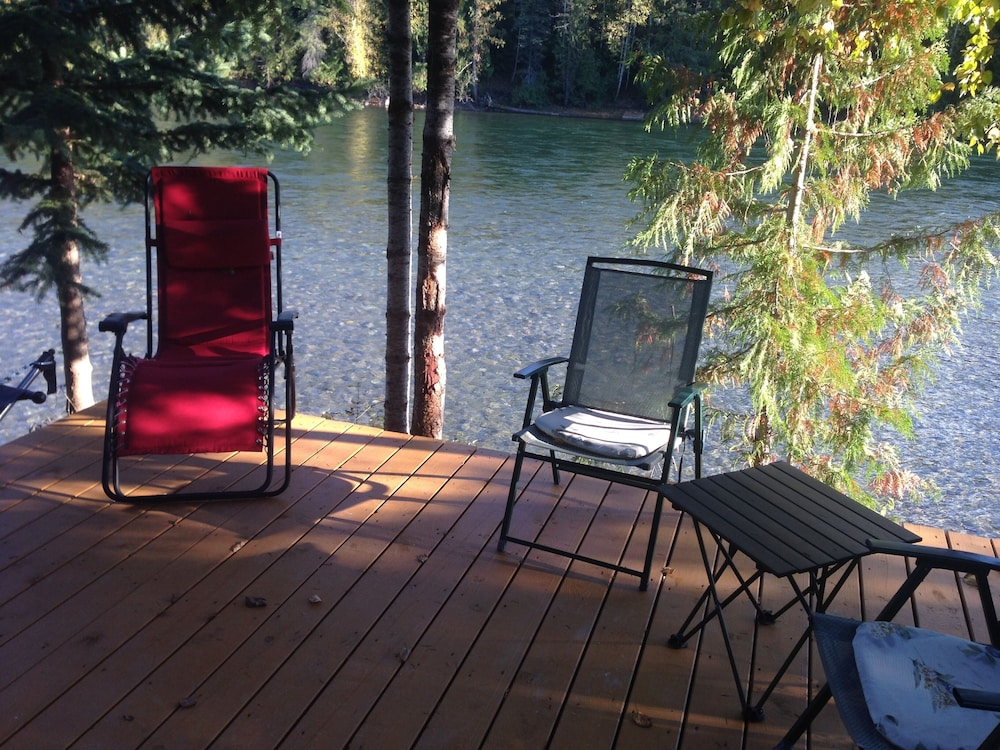 Balcony, Riverside Guest House Overlooking the Clearwater River Draining Wells Gray Park