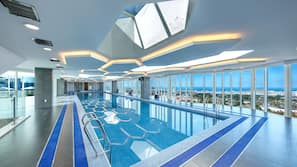 Indoor pool, open 2:00 PM to 9:00 PM, sun loungers