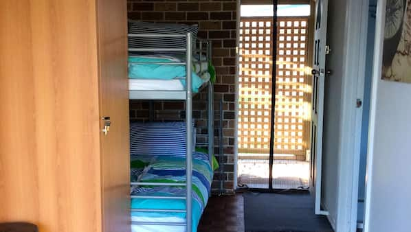 2 bedrooms, cots/infant beds