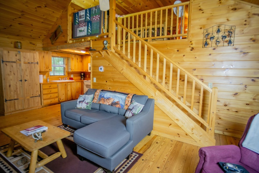 Living Room, Cozy Cabin With Hot tub - Short Walk to Downtown. Roku tv