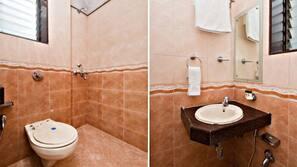 Shower, rainfall showerhead, free toiletries, soap
