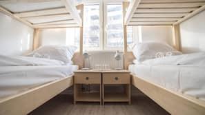Select Comfort beds, laptop workspace, blackout drapes