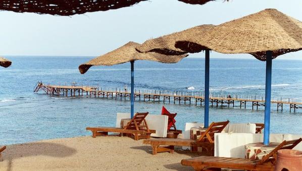 Private beach, beach bar