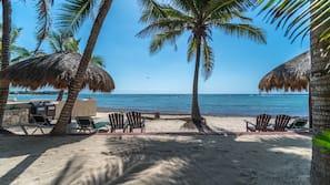 On the beach, sun loungers, scuba diving, snorkeling