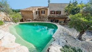 Una piscina al aire libre, una piscina natural, tumbonas