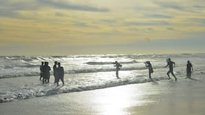Beach nearby, beach umbrellas, waterskiing