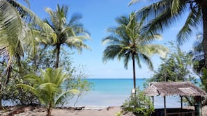 Private beach, sun loungers, beach towels, snorkeling