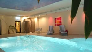 Indoor pool, open 7:30 AM to 9 PM, sun loungers