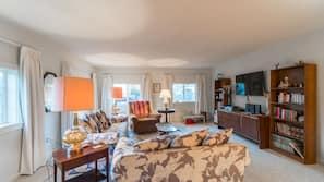 Flat-screen TV, toys, books