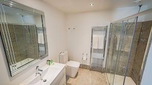Shower, free toiletries, hair dryer, bathrobes