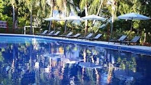 13 outdoor pools, pool umbrellas, pool loungers