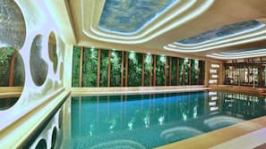 Indoor pool, open noon to 7 PM, pool loungers