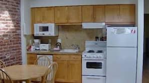 Fridge, stovetop, dishwasher, cookware/dishes/utensils