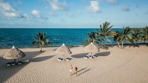 On the beach, beach massages, kayaking, rowing