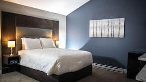 Hypo-allergenic bedding, down comforters, desk, laptop workspace