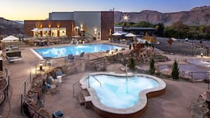 Seasonal outdoor pool, open 8:00 AM to 10:00 PM, free cabanas