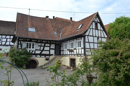 Idyllic Half-timbered House With a Large Garden and Play and Orchard