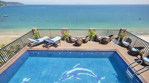 Outdoor pool, open 6:30 AM to 6:00 PM, pool umbrellas, sun loungers