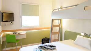 Premium bedding, desk, blackout curtains, soundproofing