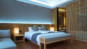 埃及棉床單、高級寢具、羽絨被、迷你吧