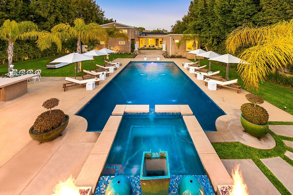 Outdoor Pool, Beverly Hills Luxury Modern Palace