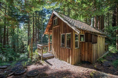 2 Rustic Cabins & Treehouse On Creek in Redwoods