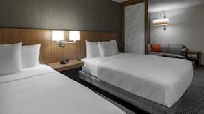 Desk, laptop workspace, blackout drapes, free cribs/infant beds