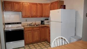Fridge, microwave, coffee/tea maker, paper towels