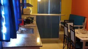 Fridge, microwave, stovetop, electric kettle