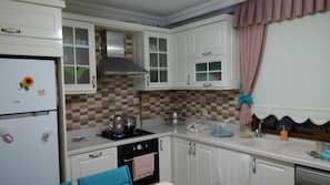 Full-size fridge, dishwasher, cookware/dishes/utensils