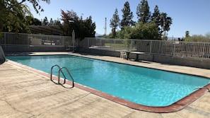 Seasonal outdoor pool, open 9 AM to 9 PM, pool umbrellas, sun loungers