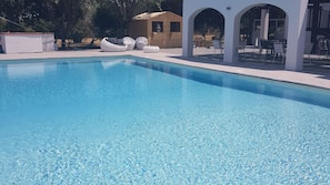 Seasonal outdoor pool, open 9 AM to 7:00 PM, pool umbrellas