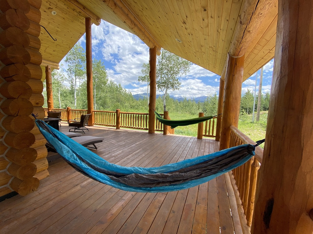 Balcony, Leigh Creek Log Home With Hot Tub, Great Deck, Access to Yellowstone and Teton