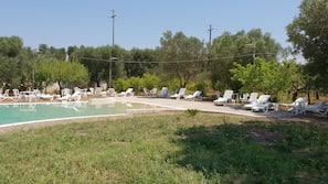 Indoor pool, seasonal outdoor pool, open 10 AM to 7 PM, pool loungers