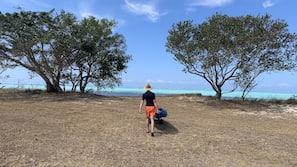 Beach nearby, sun-loungers, kayaking