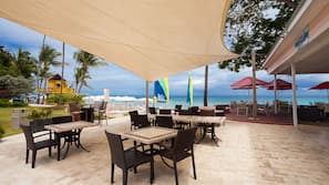 Beach nearby, sun loungers, beach umbrellas, beach bar