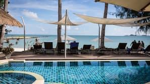 室外泳池;10:00 至 20:00 開放;泳池傘