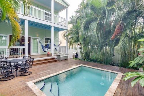 NEW Listing! Gorgeous Home W/lush Patio & Private Pool-two Blocks to Higgs Beach