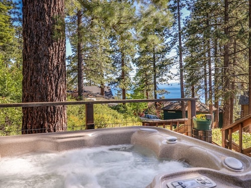 NEW Listing! Tahoe Cabin W/lake Views, Private hot tub & Fireplace-walk to Beach