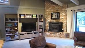 TV, lareira, DVD player, livros